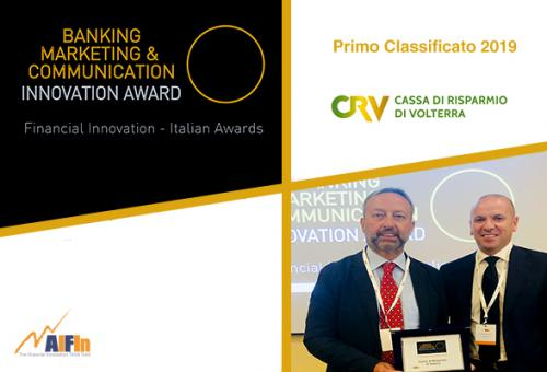 "A Cassa di Risparmio di Volterra il Premio AIFIn ""Banking Marketing & Communication – Innovation Award"" 2019"